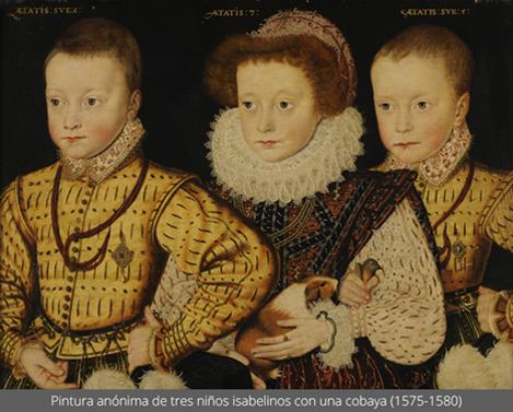 Pintura anónima de tres niños isabelinos con una cobaya